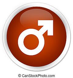Male sign icon premium brown round button