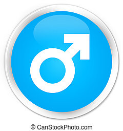 Male sign icon premium cyan blue round button