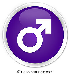 Male sign icon premium purple round button