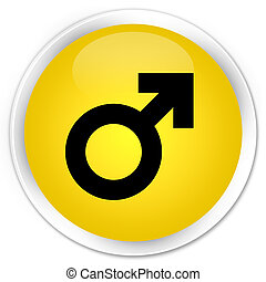 Male sign icon premium yellow round button
