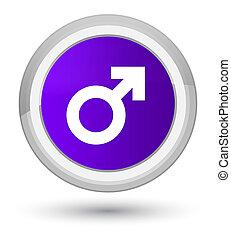 Male sign icon prime purple round button