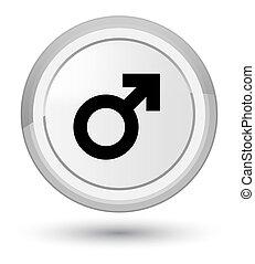 Male sign icon prime white round button