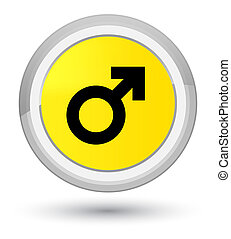 Male sign icon prime yellow round button