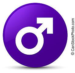 Male sign icon purple round button