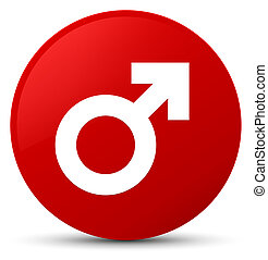 Male sign icon red round button