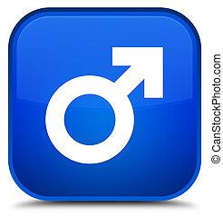 Male sign icon special blue square button