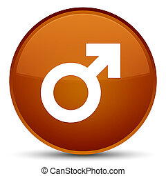 Male sign icon special brown round button