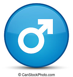 Male sign icon special cyan blue round button