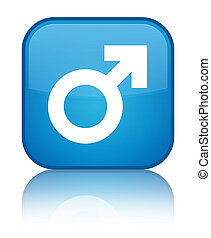 Male sign icon special cyan blue square button