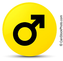 Male sign icon yellow round button