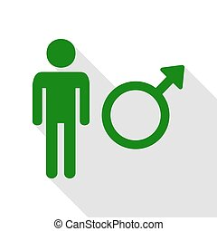 Male sign illustration. Green icon with flat style shadow path.
