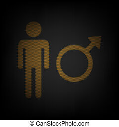 Male sign illustration. Icon as grid of small orange light bulb in darkness. Illustration.
