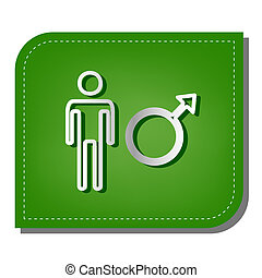 Male sign illustration. Silver gradient line icon with dark green shadow at ecological patched green leaf. Illustration.