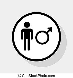 Male sign illustration. Vector. Flat black icon in white circle with shadow at gray background.