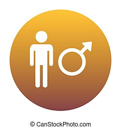 Male sign illustration. White icon in circle with golden gradien