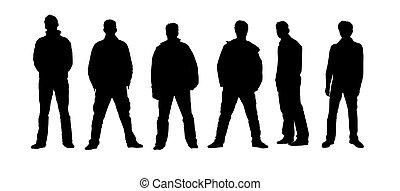 Male silhouettes black, white