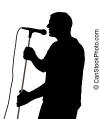 Male singer - Silhouette of a male singer. Isolated white ...