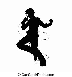 Male singer silhouette on white background vector