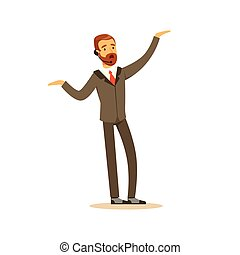 Male singer wearing a classic suit performing a song vector Illustration