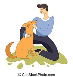 Male sitting with domestic animal dog pet and owner - Male...