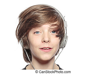 male smiling teenager with headphones, isolated on white