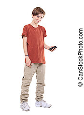 male smiling teenager with mobile phone, isolated on white