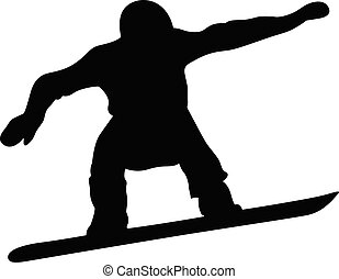 male snowboarder jump and flight black silhouette