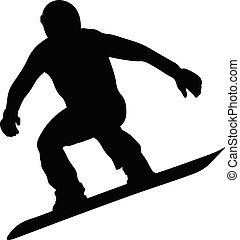 male snowboarder jumping