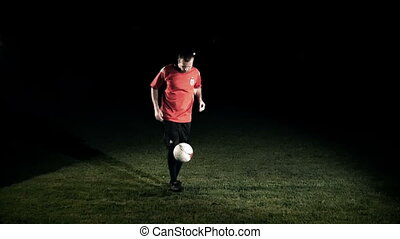 Male Soccer Player Juggling The Ball Slow Motion