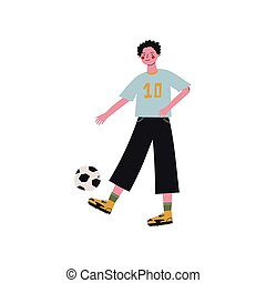 Male Soccer Player Kicking Ball, Active Healthy Lifestyle Vector Illustration