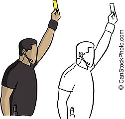 male soccer referee showing a yellow card vector illustration sketch doodle hand drawn with black lines isolated on white background