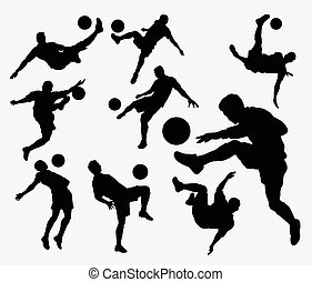 Male soccer sport silhouettes
