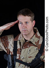 Male Soldier saluting while under arms