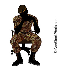 Male Soldier Sitting In A Chair Illustration Silhouette