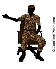Male Soldier Sitting In A Chair Illustration Silhouette -...