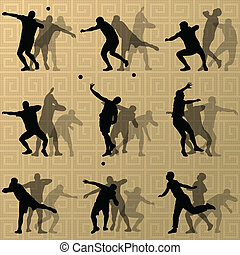 Male sport athletics. ball throwing silhouettes collection. ...