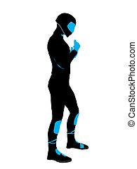 Male Sports Biker Illustration Silhouette