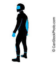 Male Sports Biker Illustration Silhouette