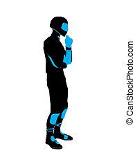 Male Sports Biker Illustration Silhouette - Male sports...