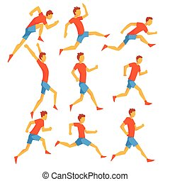 Male Sportsman Running The Track With Obstacles And Hurdles In Red Top And Blue Short In Racing Competition Set Of Illustrations.