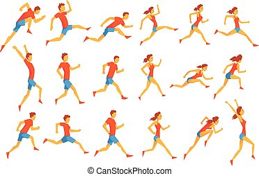 Male Sportsman Running The Track With Obstacles And Hurdles In Red Top Blue Short In Racing Competition Set Of Illustrations.