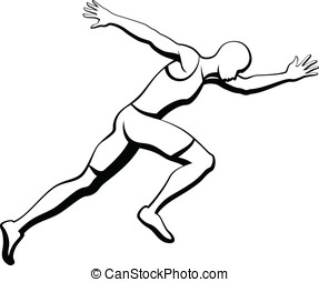 Male Sprinter - Black and White vector illustration of a man...