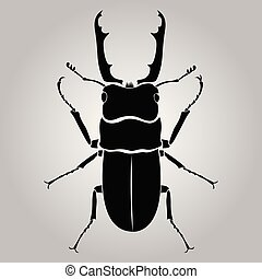 male stag-beetle isolated on white background, bug silhouette, strong insect, vector illustration