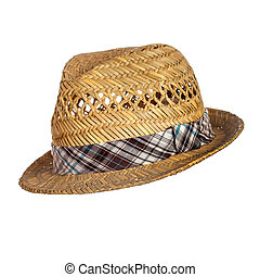 Male straw hat isolated over white background