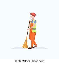 male street cleaner holding broom man sweeping garbage cleaning service concept full length flat white background