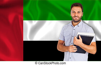Male student of languages Arabic flag