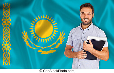 Male student of languages on Kazakhstan flag