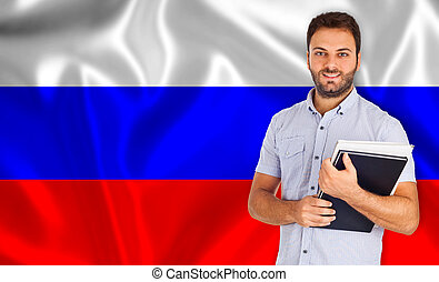 Male student of languages on Russian flag