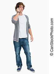 Male student on the phone