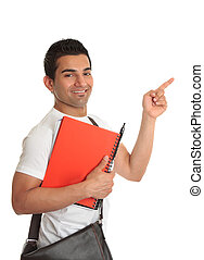 Male student pointing his finger to your message